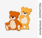 two cute teddy bears. seated... | Shutterstock .eps vector #1035447256