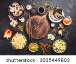 asian food cooking concept.... | Shutterstock . vector #1035449803