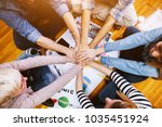 young motivated employees... | Shutterstock . vector #1035451924