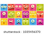 colorful square funny face of... | Shutterstock .eps vector #1035456370