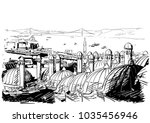 sketch of istanbul bridge... | Shutterstock .eps vector #1035456946