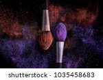 two brushes for makeup with... | Shutterstock . vector #1035458683