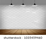 white brick wall and wooden... | Shutterstock .eps vector #1035459460