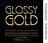 Vector Glossy Elegant Gold Alphabet. Luxury set of glamour Letters, Numbers and Symbols