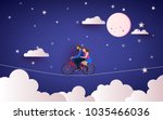 a couple riding bicycle to the... | Shutterstock .eps vector #1035466036