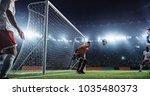 soccer game moment  on... | Shutterstock . vector #1035480373