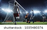 soccer game moment  on... | Shutterstock . vector #1035480376