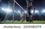 soccer game moment  on... | Shutterstock . vector #1035480379