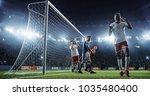 soccer game moment  on... | Shutterstock . vector #1035480400