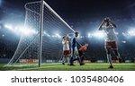 soccer game moment  on... | Shutterstock . vector #1035480406