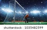 soccer game moment  on... | Shutterstock . vector #1035482599