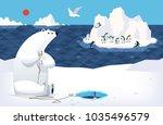 white bear on north pole... | Shutterstock .eps vector #1035496579