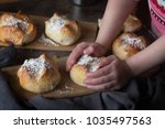 homemade hot cross buns with... | Shutterstock . vector #1035497563
