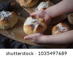 homemade hot cross buns with... | Shutterstock . vector #1035497689