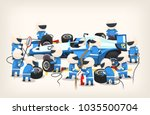 colorful image with pit stop... | Shutterstock .eps vector #1035500704