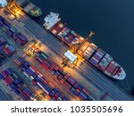 aerial view of containers yard... | Shutterstock . vector #1035505696