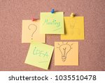 meeting and idea text on sticky ... | Shutterstock . vector #1035510478