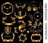 vector set decorative golden...   Shutterstock .eps vector #1035516484