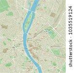 vector city map of budapest... | Shutterstock .eps vector #1035519124
