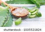 aloe vera gel closeup. sliced...   Shutterstock . vector #1035521824