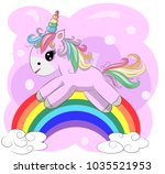 a little pink cute cartoon... | Shutterstock .eps vector #1035521953