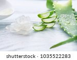 aloe vera gel closeup. sliced... | Shutterstock . vector #1035522283