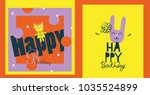 colorful birthday cards for...   Shutterstock .eps vector #1035524899