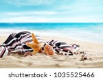 summer photo of beach and shell ... | Shutterstock . vector #1035525466