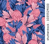 dark protea seamless pattern.... | Shutterstock .eps vector #1035529033