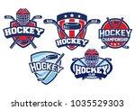 hockey badge design set | Shutterstock .eps vector #1035529303