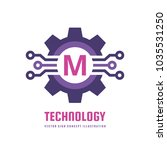 technology letter m   vector... | Shutterstock .eps vector #1035531250