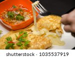 omelette cheese stretched out... | Shutterstock . vector #1035537919