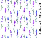 seamless pattern of lavender... | Shutterstock . vector #1035542530