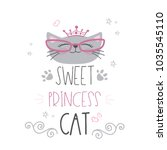 cute cat head with crown and... | Shutterstock .eps vector #1035545110