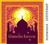 ramadan kareem mosque... | Shutterstock .eps vector #1035553669