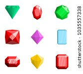 precious stone icons set. flat... | Shutterstock .eps vector #1035557338