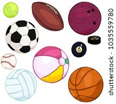 vector cartoon color set of... | Shutterstock .eps vector #1035559780