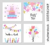 happy birthday cards set.... | Shutterstock .eps vector #1035561469