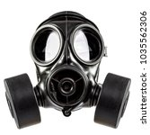 Gas mask double filter on white ...