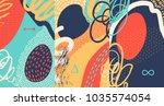 creative doodle art header with ... | Shutterstock .eps vector #1035574054