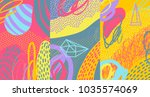 creative doodle art header with ... | Shutterstock .eps vector #1035574069