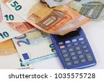 different euros with a... | Shutterstock . vector #1035575728