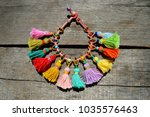 colorful  rainbow macrame boho... | Shutterstock . vector #1035576463