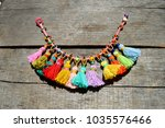 colorful  rainbow macrame boho... | Shutterstock . vector #1035576466