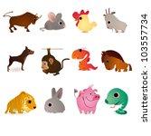 set of twelve animals as... | Shutterstock .eps vector #103557734
