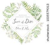 wedding greenery diamond frame... | Shutterstock .eps vector #1035579313