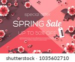 spring sale background with...   Shutterstock .eps vector #1035602710