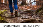 solitary female hiker on a... | Shutterstock . vector #1035611590