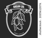 argan vector drawing  label nut ... | Shutterstock .eps vector #1035612076