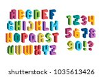 colorful 3d font. isometric... | Shutterstock .eps vector #1035613426